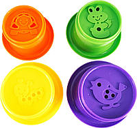 Пирамидка-стаканчики с брыгзалкой для ванной Утенок 5 элементов в сетке 13*21*6,5 см