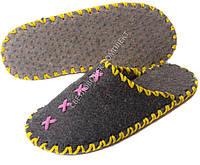 Тапки войлочные ручной работы, темные с розовым и желтым шнуром, р.39-40
