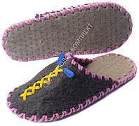 Тапки войлочные ручной работы, темные с желтым и розовым шнуром, синие петельки, р.35