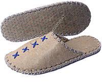 Тапки войлочные ручной работы, светлые с синим и серым шнуром, р.43-44