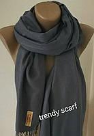 Женский палантин однотонный шарф. Темно-серый. Пашмина. 180/80