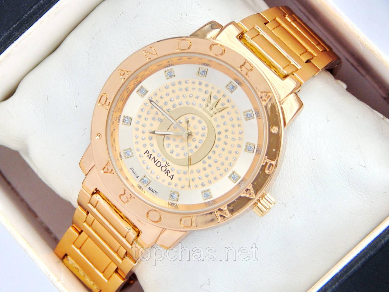 Золотые часы Pandora c буквой О и короной, стразы на циферблате - Top Chas - 57dc8440114