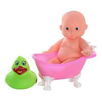 Пупс 318-1 мальчик, 12 см, с ванночкой 10-6-5 см, утка (брызгалка)