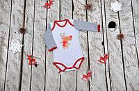 Mag Baby Боди длинный рукав р62-80 Олень серый/красный