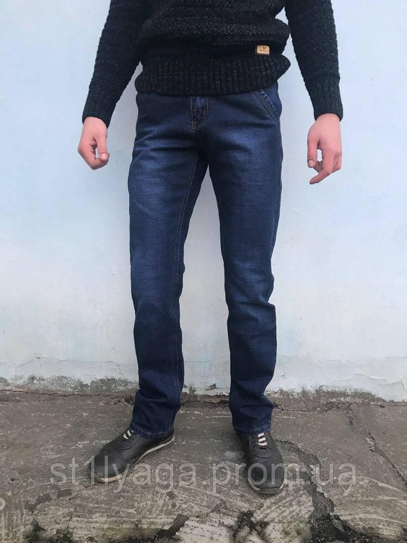 Джинсы мужские LS на флисе c косыми карманами синий ЗИМА