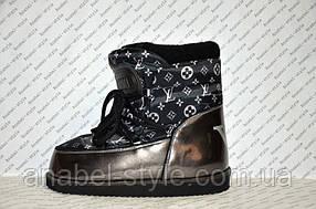 Луноходы мунбуты женские натуральная кожа Moon boot Louis Vuitton черные