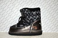 Луноходы  мунбуты женские  Moon boot  Louis Vuitton  черные код 1110