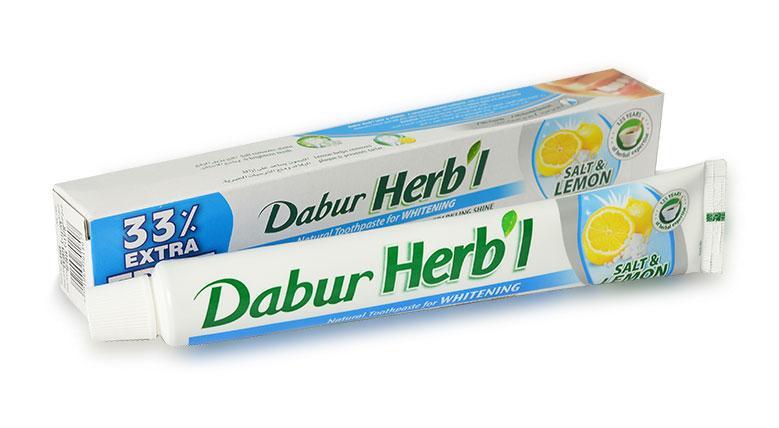 Отбеливающая зубная паста з солью и лимоном Dabur, 80 г