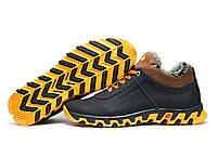 Ботинки мужские зимние на меху Columbia TRACK II кожаные, черные с желтым, р. 40 41 42 43 44 45