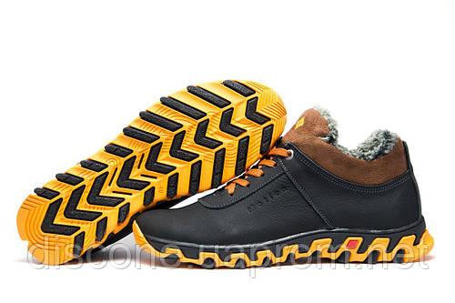 Ботинки мужские зимние на меху Columbia TRACK II кожаные, черные с желтым, р. 40 41 43