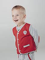 Smil Жакет для мальчика р68 серый/красный