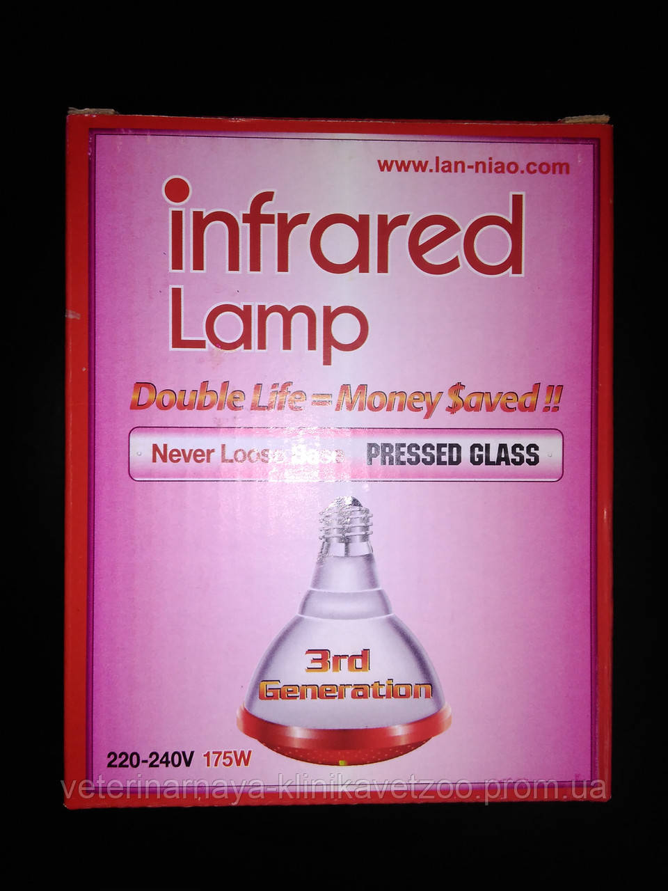 ИК лампа для обогрева животных и птиц.175Ват