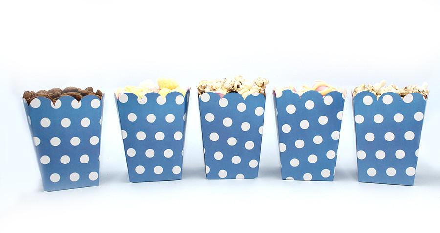 """Коробочки для сладостей """"Голубой горошек"""" 5 шт/уп."""
