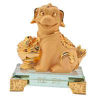 Статуэтка собака гороскоп 10х9х6,5 см Золотистая (В4930)