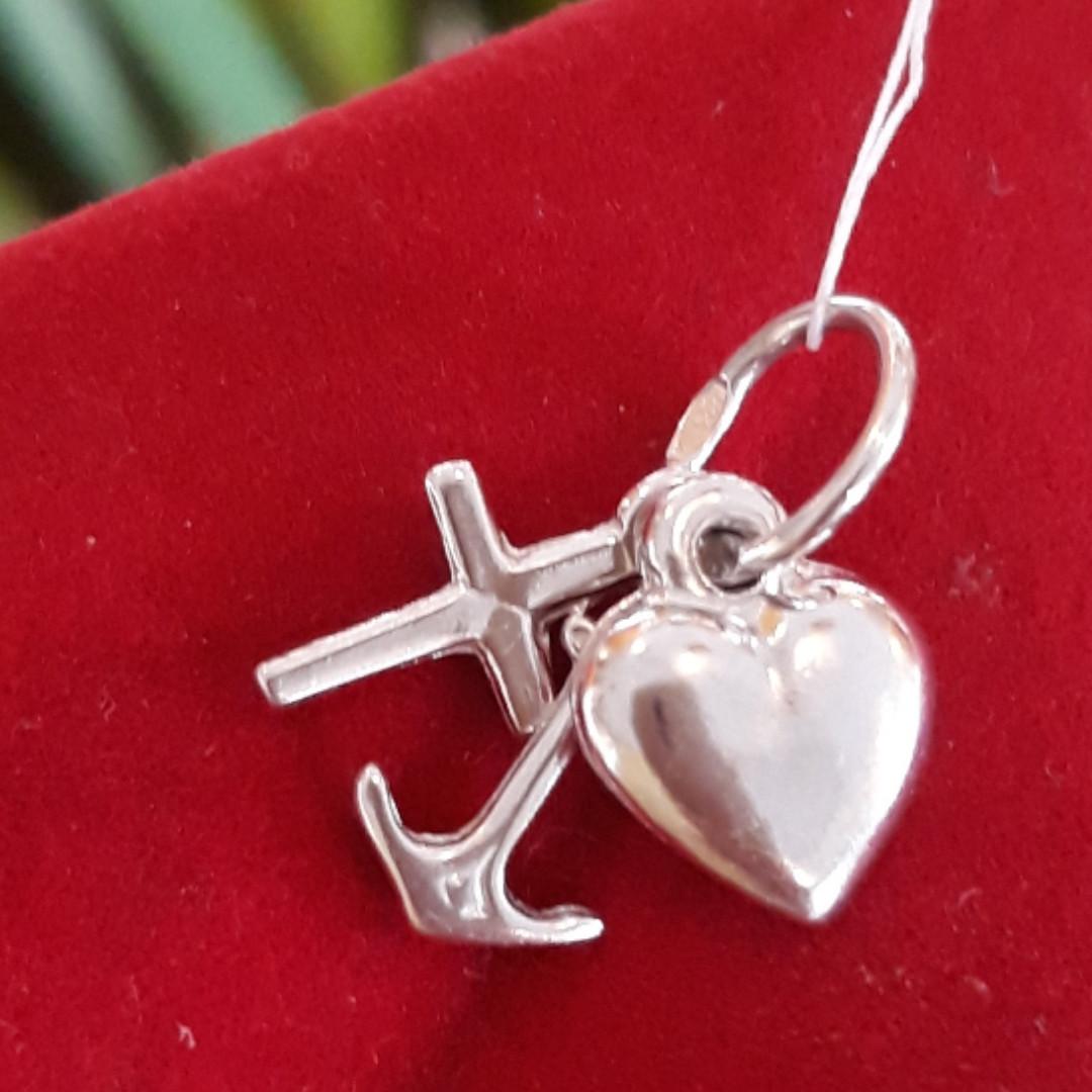 Серебряный кулон Якорь, Сердце, Крестик - Кулон Вера, Надежда, Любовь