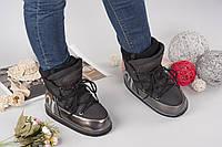 Трендовые зимние сапоги, луноходы в стиле Гуччи цвет черный