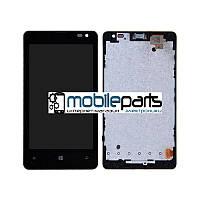 Оригинальный Дисплей (Модулль)+Сенсор (Тачскрин) для Nokia Lumia 435 (С рамкой) (Черный)