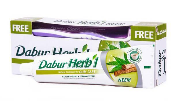 Зубная паста с нимом Dabur + зубная щетка, 150 г Скидка -20%!, фото 2