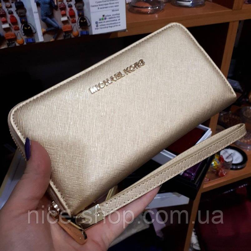 Кошелек Michael Kors Люкс, натуральная кожа Saffiano, золото,в коробке, фото 2