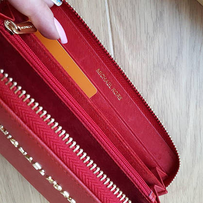 Кошелек Michael Kors натуральная кожа Saffiano красный, фото 2