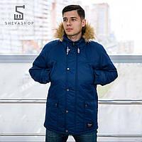 Зимняя мужская куртка Pitt 2017 с мехом синяя S