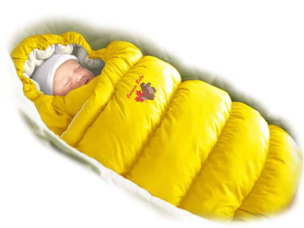 Пуховый конверт-трансформер «Inflated» (мех) желтый