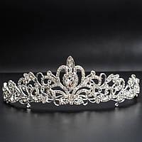 Свадебная диадема, корона, тиара на голову для невесты посеребрение 4761с