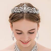 Свадебная диадема ювелирная бижутерия посеребрение 4761с