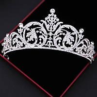 Свадебная диадема, корона, тиара на голову для невесты посеребрение 4766с