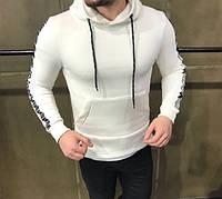 Кофта мужская с капюшоном D2480 белая