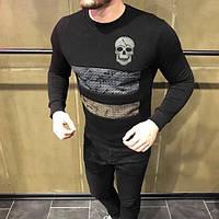 Кофта мужская с черепом D2485 черная