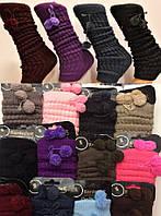Гетры женские шерстяные вязаные Kardesler, с бубонами, цветные, ассорти, 0974