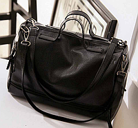 Стильная черная женская сумка из экокожи