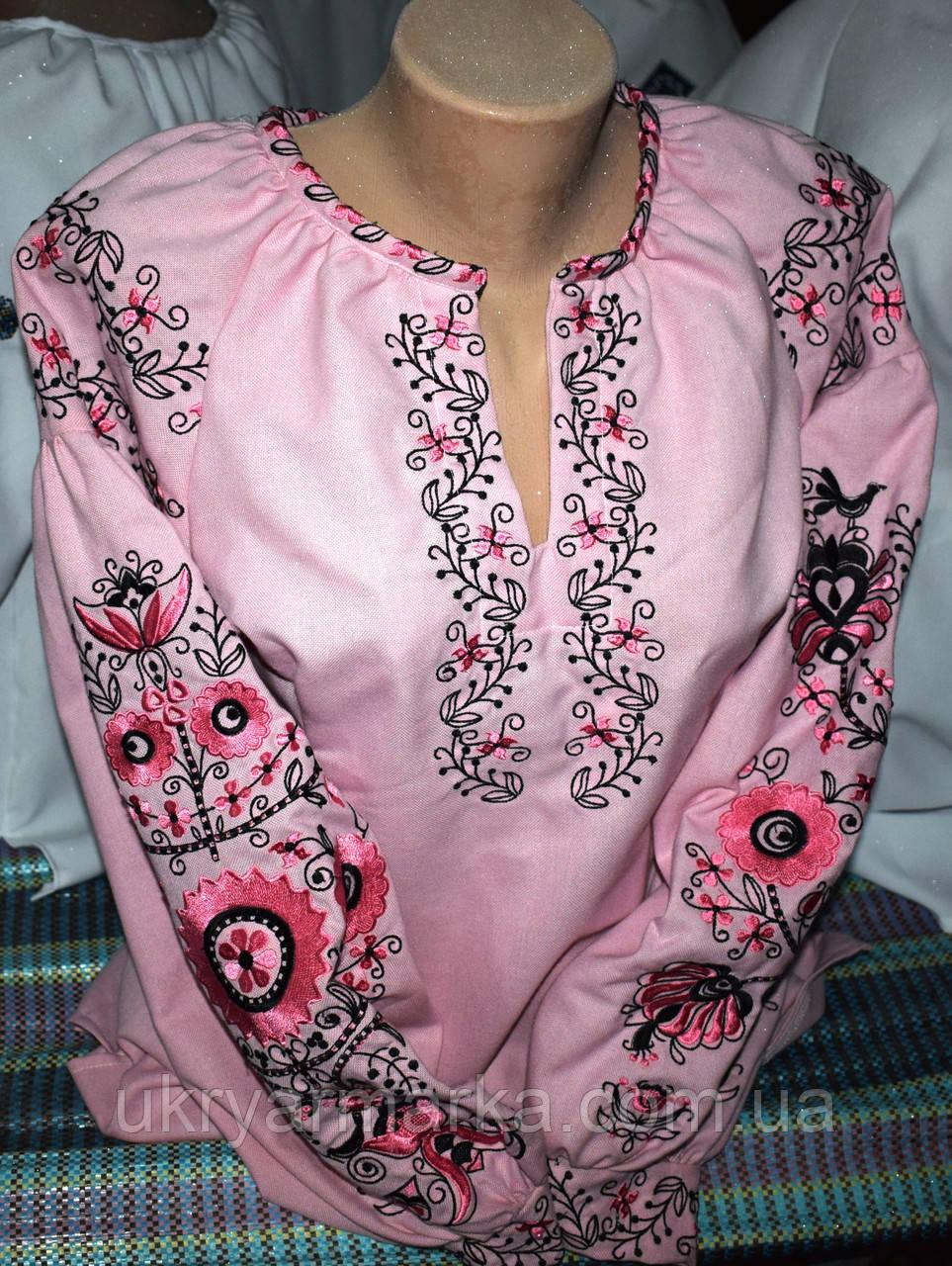 """Вишита жіноча бохо блузка """"Рожеві квіти"""""""