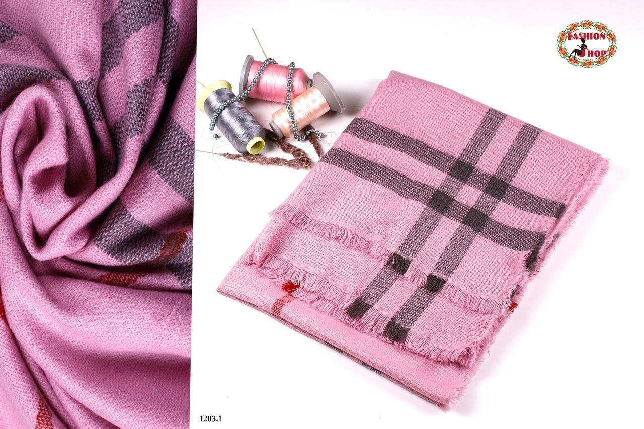 Розовый стильный шерстяной шарф-плед