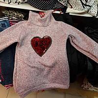 Детская теплая туника с голограммой-сердечком