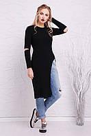 Теплое платье с разрезом бежевое и черное S M L