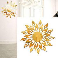 """Наклейка зеркальная Солнце """"золото"""" 3D декор"""