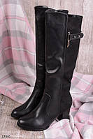 Женские сапоги ЗИМА классика с ремешком эко-кожа+ замша каблук 7,5 см