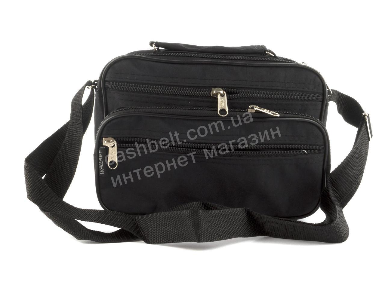 Удобная небольшая мужская сумка с плотной ткани WALLABY art. 2123 черная Украина