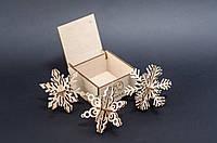 """Новорічні 3D іграшки з дерева """"Вихор"""" на ялинку, 3 об'ємні 3D ялинкових прикрас"""