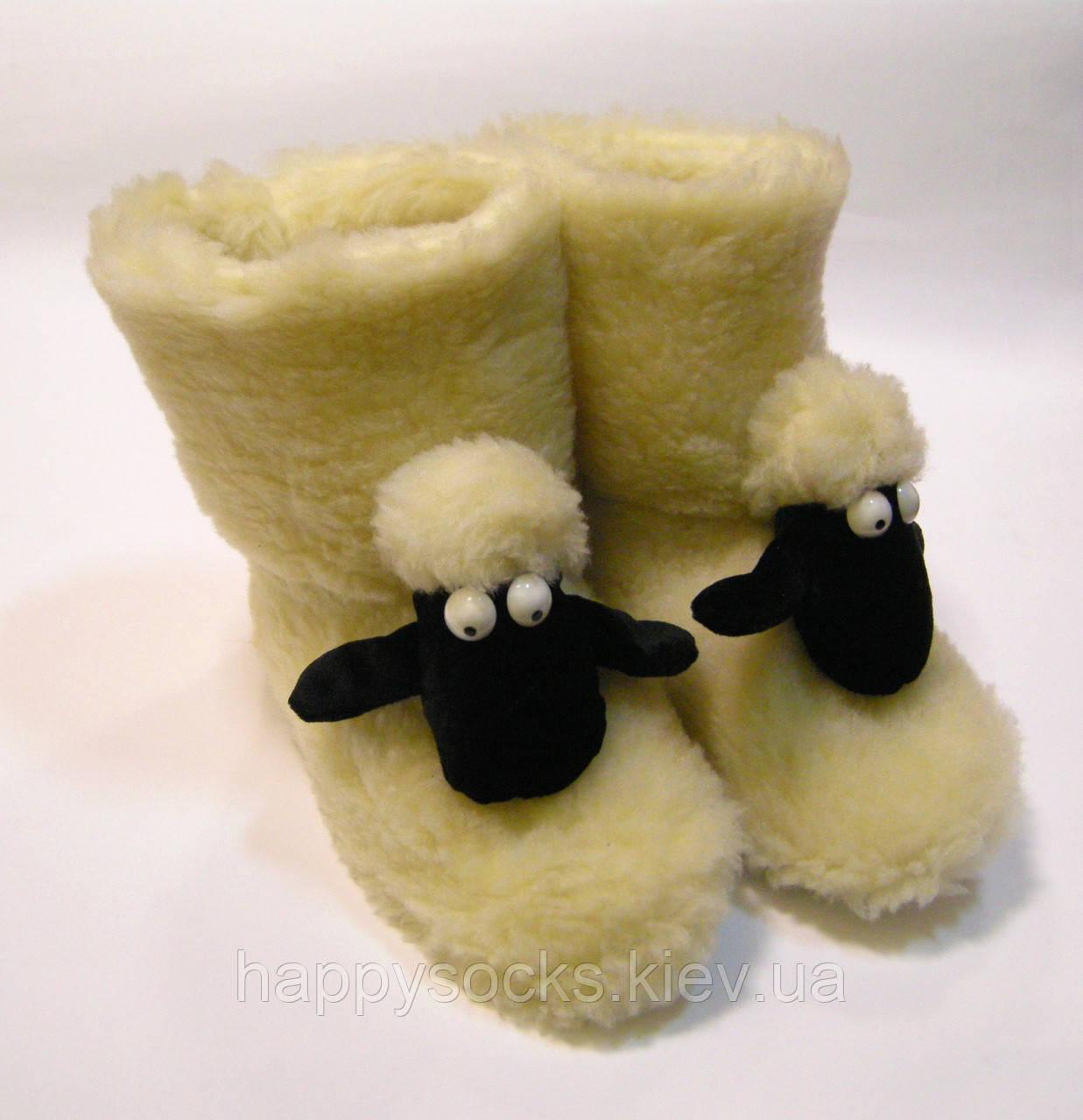 Домашние детские тапочки-сапожки из овчины баранчик Шон