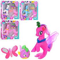 Игровой наборЛитл Пони c хвостом Русалка (my Little Pony),рыбка - пищалка 7 см, аксессуары, 4 вида