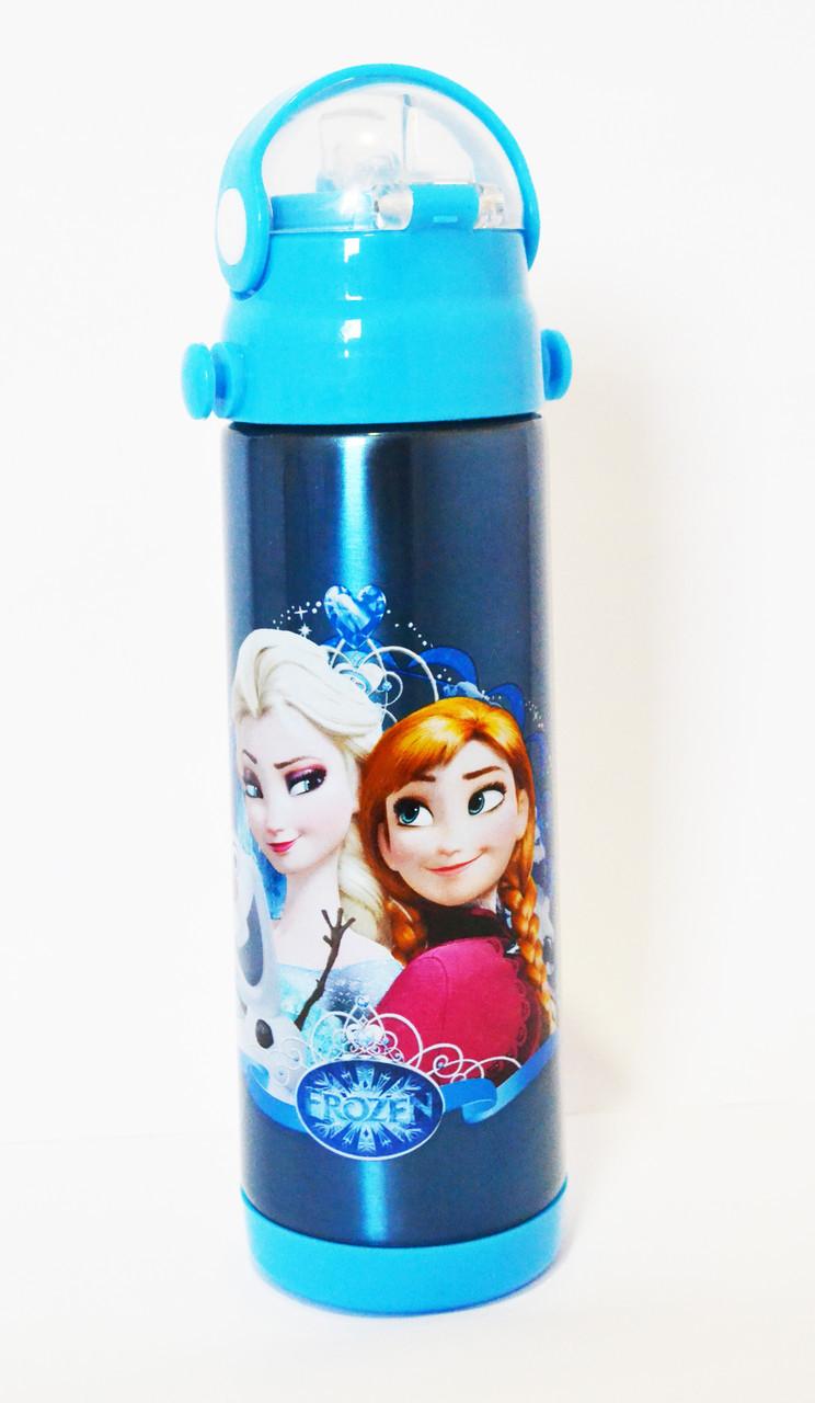 Термос Детский с поилкой-трубочкой и откидной крышкой - Disney Heroes 9030 500мл Frozen