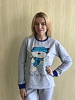 """Пижама женская с начесом """"Мишка"""" с манжетами"""