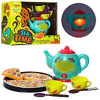 Набор чайный сервиз сзвук, свет, пицца, посуда, в коробке32,5-26,5-13 см