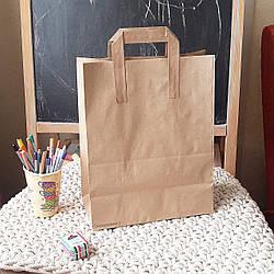 Бумажный крафт-пакет с плоскими ручками 806, 335х260х140 мм