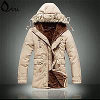 Мужская зимняя куртка парка на меху В НАЛИЧИИ, бежевый. (PS_03) РАЗМЕР 42, 44