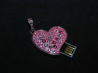 Флешка кулон в виде розового сердца с розовыми стразами Сваровски, ювелирный флешка 2 в 1
