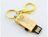 Ювелирная флешка брелок золотой ключик двухсторонняя со стразами, флешка 2 в 1 со стразами